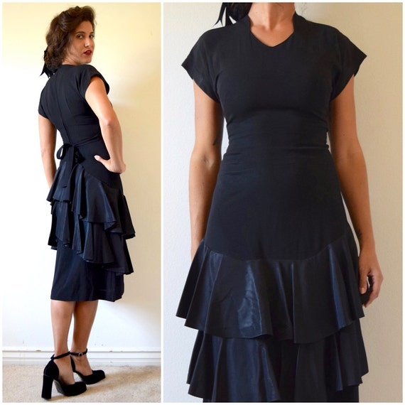 Vintage 30s 40s Ink Well Black Dress With Tiered Satin Ruffles (size xs, small)