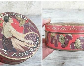 Vintage 1930/30s French round  tin box / Pruneaux d'Agen