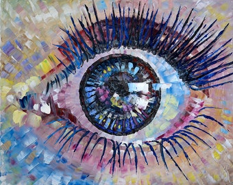 "Art Painting - EYE - PALETTE KNIFE -  Art Oil Painting On Canvas By Irena Rudman - Size:16"" x 20"" (40.5 cm x 51 cm)"