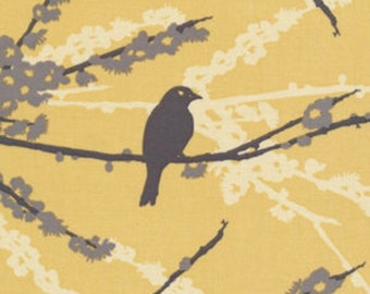 HALF YARD - Joel Dewberry Fabric, Aviary 2, Sparrows in Yellow, Birds, Branches - SALE