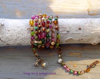 Vintage rose crocheted wrap bracelet, natural pretty organic