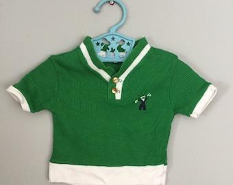 Vintage 60s Green Nautical Sailor Baby Shirt 6 months