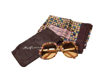 Molyneux Oversized 70s Vintage Sunglasses and Scarf - 70s desinger eyewear in new old stock condition