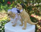 Dinosaur Wedding Cake Topper, Bride and Groom Cake Topper, Groom's Cake Topper,Gold Dinosaurs-Prehistoric-Animal Cake TopperWedding Topper