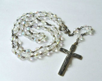 Vintage Aurora Borealis Glass Bead Rosary, Faceted Clear Glass Beads