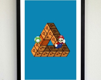 One-Upped Mario Optical Illusion Poster