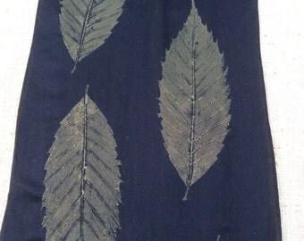 Botanical Print Silk Scarves, Actual Leaves Printed on Silk, Nature Prints in Metallic Colors on Black Silk, American Chestnut, Maple, Oak