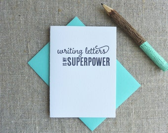 Letterpress Greeting Card - Write More. On Paper. - Writing Letters is My Superpower - WRM-315