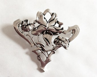 Violet flower brooch pin Art nouveau style silver plated