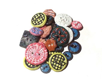 Ceramic Buttons 27 Mixed Colors Sizes Bargain Fasteners 2 Hole Sewing Craft Supply Large and Small Textured Rustic Colorful Mix Stoneware