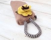 Camel Colored Boiled  Wool  Wristlet  with Detachable Yellow Striped Flower Brooch