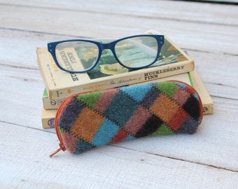 Felted Wool Glasses Case Colorful Patchwork Glasses Case in Browns Greens and Turquoise