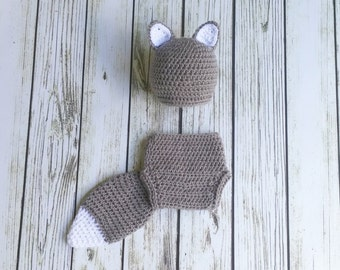 Baby Fox Outfit - Crochet Grey Fox Set - Fox Hat - Crochet animal outfit - newborn photo prop - crochet baby outfit - Halloween Costume