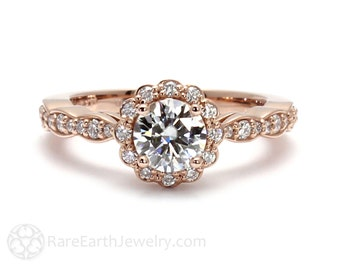 14K Rose Gold Moissanite Engagement Ring Diamond Halo Bridal Jewelry