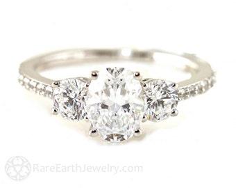 Platinum Oval White Sapphire Engagement Ring 3 Stone Diamond Sapphire Ring Custom Bridal Jewelry