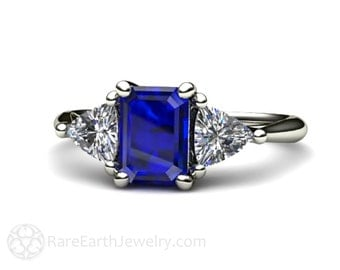 Blue Sapphire Engagement Ring Vintage Blue Sapphire Ring Diamond 3 Stone Ring Trillions 14K or 18K Gold