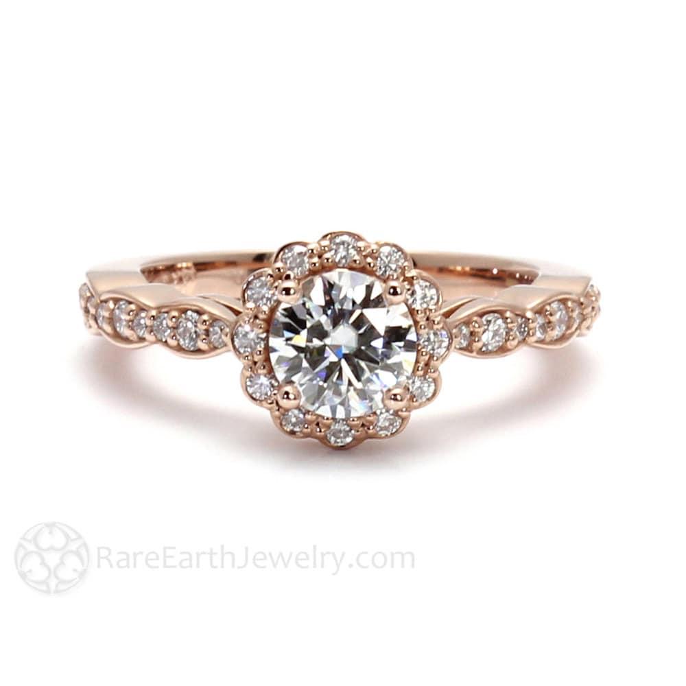 14k gold moissanite engagement ring halo bridal