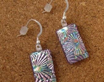 Dichroic Glass Earrings - Fused Glass Earrings - Purple Dichroic Earrings - Glass Earrings - Dichroic Jewelry - Fused Glass Jewelry