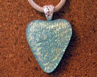 Dichroic Heart Pendant - Fused Glass Pendant - Valentine Jewelry - Dichroic Jewelry - Fused Glass Jewelry - Dichroic Necklace
