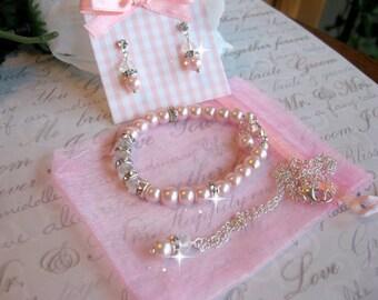 Custom Flower Girl Jewelry Pearl Crystal and Swarovski Rhinestone Necklace-Girls Bracelet and Earring Set -Wedding Jewelry/Youth Jewelry