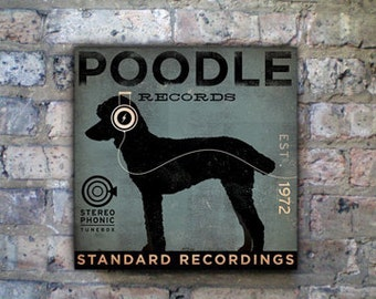 Standard Poodle dog Records album style graphic artwork on gallery wrapped canvas by stephen fowler