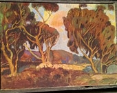 CA Plein Air Impressionist Painting 1930s or 40s  a 10 x 14 canvas board Tree Grove, Unknown Artist