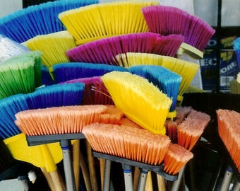 Clean Palette - Bounty of Colourful Brooms - Mud Room Wall Decor - Original Colour Film Matted Photograph by Suzanne MacCrone Rogers