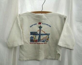 Childrens vintage Sweatshirt 60s distressed top Seattle Worlds Fair Sweatshirt 60s Girls white sweatshirt Space Needle vintage Sweatshirt S