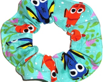 Disney Finding Nemo Dory Fabric Hair Scrunchie Scrunchies by Sherry Blue Teal Green