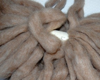 Llama, Llama Roving,  Pencil Roving for Spinning and Felting in Taupe Beige from Candy 4 oz.