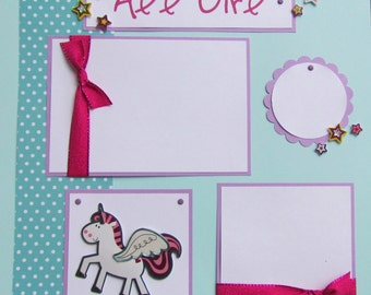 ALL GIRL 12x12 Premade Scrapbook Pages - RaiNBoWs & UniCoRNs