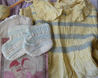 Vintage Lot of Vintage Baby Clothes, Shoes and Accessories from 1950's in Rosebud Fabric Drawstring Bag