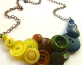 Winter sale Yellow Tan Olive Navy Vintage Button Necklace