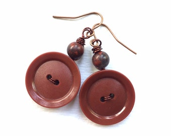 Rich Brown Vintage Button Dangle Earrings