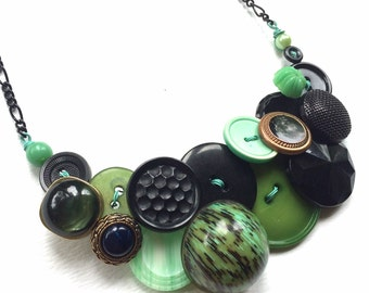 Big Funky Vintage Button Necklace in Shades of Green and Black