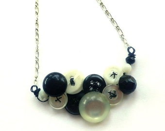 ON SALE Small Classic Black and White Vintage Button Necklace