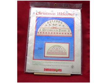 Christmas Needlework Kit, Unused Vintage 1986, Dimensions Counted Cross Stitch, Christmas Geese Welcome, 14 x 7 Finished Size