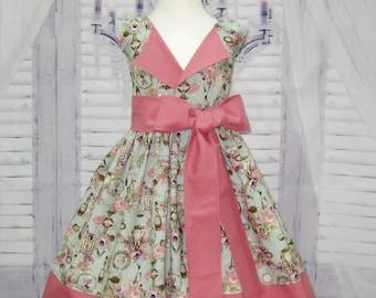 Vintage Style Girl Dress, Blue and Pink Girl Dress, Dusty Rose Dress, Tea Time Girl Dress, Birthday Dress, Flower Girl Dress, Lapel Dress