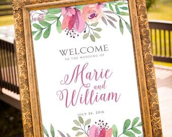 PRINTABLE - Wedding Welcome Sign, Garden Wedding, Custom Sign, Romantic Wedding, Guestbook alternative, purple wedding, wedding bouquet