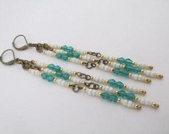 Seed Bead Dangle Earrings - Emerald Green