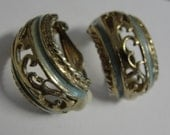 Green Enamel Hoop Clip Earrings Lot