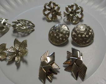 Various Vintage Gold Tone Clip Earrings Lot