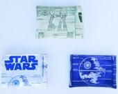 Set of 3 Eco Friendly Reusable Snack Bag Set - Handcrafted from Star Wars Fabric (White, Green, and Blue) - Zipper or Velcro Closure