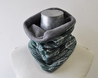 Neckwarmer, Fleece Cowl, Feather, Forest green feather, ski and snowboard