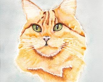 Portrait of A Ginger Cat- Original Cat Folk Art Watercolor Painting