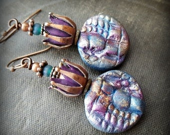 Polymer Clay, Vintage Findings, Flowers, Raku, Headpins, Artisan Made, Beaded Earrings