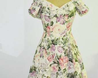 80s Off Shoulder Floral Dress with lace