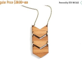 FALL SALE 30% OFF Geometric Bamboo Wood Triple Chevron Necklace