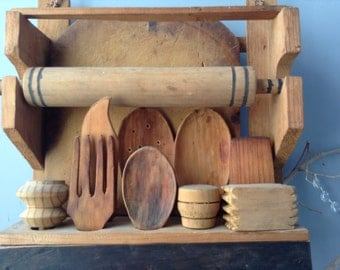 VINTAGE HOME...wood kitchen set ~ interior design ~ cutting board spoon woodland cottage wall hanging ~ home decor steampunk