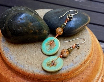 boho gypsy handcrafted sterling silver dangle earrings with vintage green wood beads and natural gemstones